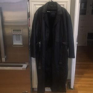 NWT Morton Rossi Black Leather 2XL Trench Coat.